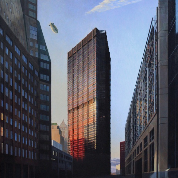 A Tall Building In An American City. oil. 54 x 54 in. 2012_II